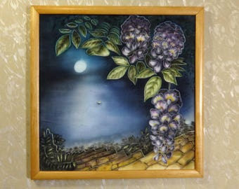 Painting on silk Small Contemporary original art Painted lilac flowers wisteria Night blue sea Full moon Interior fine Wall decor picture