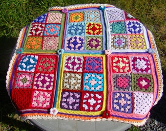 Granny Square Blanket Throw with flower embellishments