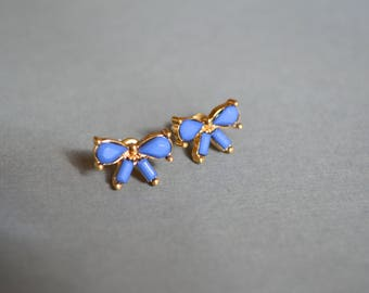 Bows Stud Earrings, Stud Earrings, Blue Bows Earrings, Graduation Gift, Gift Under 10 Dollar, Minimalist Earrings, Christmas Gift For Her