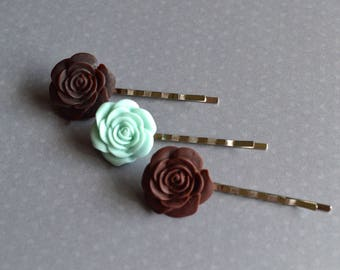 Bridal Bobby Pins. Mint Green Brown Bobby Pins. Bridal Hair Accessory. Gift For Women. Floral Bobby Pins. Shabby Chic Hair Pins. Boho.
