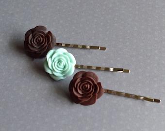 Bridal Bobby Pins. Mint Green Brown Bobby Pins. Bridal Hair Accessory. Gift For Women. Floral Bobby Pins. Shabby Chic Hair Pins. Boho.