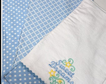 Three Handmade Blue Baby Burp Cloths