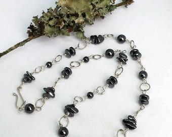Necklace of Hand Forged Sterling Silver Links and Hematite Beads