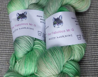 Misty Morning: Hand Dyed yarn, Sock Yarn, Merino/Silk/Cashmere, 4 ply, 100gm