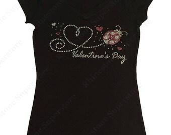 "Women's Rhinestone T-Shirt "" Valentine's Day Heart with Lady Bug "" in S, M, L, 1x, 2x, 3x"