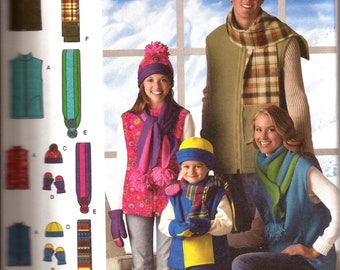 Easy Child Teen Adult Scarf Hat Mittens Vest Sewing Pattern / Simplicity 2743 / All Sizes / UNCUT