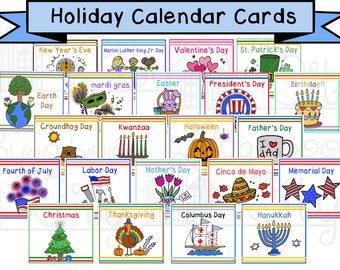 Holiday Calendar Cards - Children's Calendar - Digital File