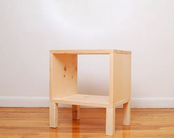 Square Wood Nightstand, Side Table, End Table Storage- Raw