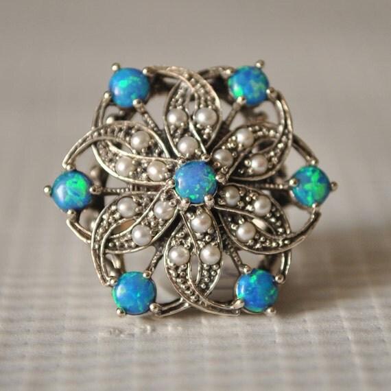 Sterling Silver Fire Opal Pearl Art Deco Ring Sz 6 #9846
