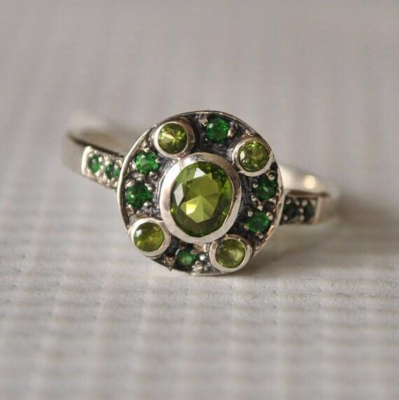 Sterling Silver Emerald Peridot Art Deco Ring Sz 7.75 #9752