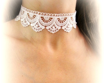 White lace choker necklace embroidered lace choker bridal necklace wedding jewelry white fabric choker necklace