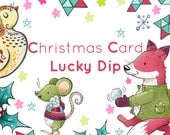 Christmas Card Lucky Dip - Five Randomly Selected Fun and Cute Illustrated Cards