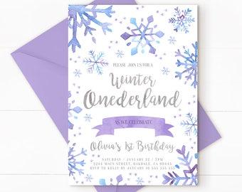 Onederland, Winter Onederland Invitation, Winter Onederland, Winter Birthday, Winter Onederland Birthday, Girl Invitation, WINTER PURPLE +