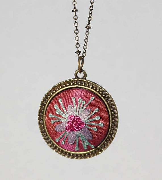 Silk Embroidered Flower Pendant / Floral Stitched Necklace / Pink Turquoise Lavender / Gift For Her
