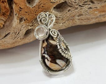 Peanut Wood, Jasper, Rose Quartz, Wire Wrapped, Sterling Silver, Pendant, .925 Sterling Silver, Focal, Beading, Jewelry, Supply