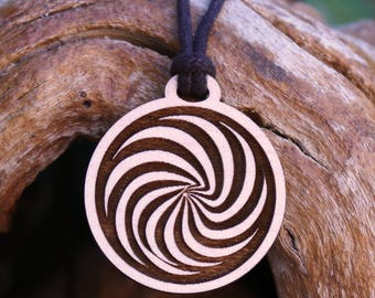 Spiral Wooden Pendant Necklace - Laser Cut Homeade Engraved Women's Jewelry Gifts Symbol