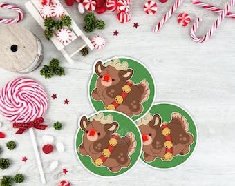 Kawaii Rudolph Reindeer Christmas Sticker ( cute stickers )