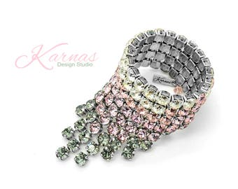 DIPPED WATERFALL KDS™ 2017 Bold Statement Bracelet 8mm Swarovski Crystal *Antique Silver *Karnas Design Studio™ Free Shipping