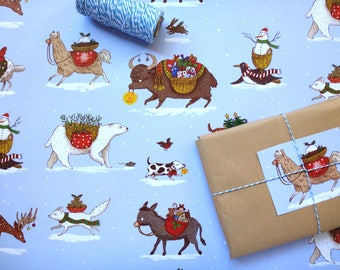 Christmas Animals Gift Wrap / Wrapping Paper / Set of 3 sheets