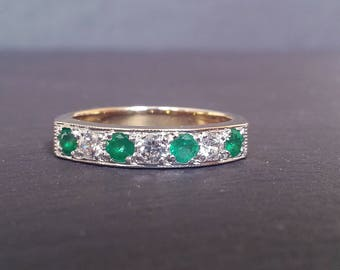 Vintage Emerald Diamond Ring