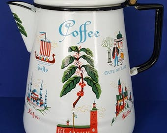 """Vintage Berggren Enamelware Percolater Coffee Pot - """"Coffee In Languages Around The World"""""""