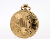 Yellow Goldfilled Elgin Pocket Watch Engraved Swallow Case and Guilloché Engraved Dial