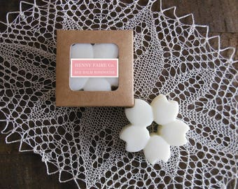wax blossom bee balm rosewater | scented wax melt botanical wax tart | natural rose fragrance with bergamot, mint & thyme
