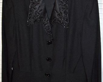 Jacket 8- 10, Evening Jacket, Beaded Collar, Jet Black Beaded Buttons, Stunning Dressy Jacket, by Demetrog, - see details