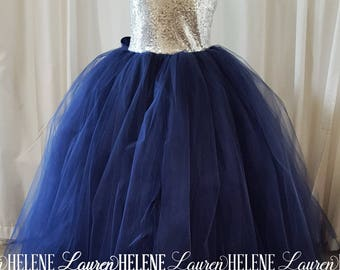 Ellen Navy Flower Girl Dress, Navy and Silver Sequin Flower Girl Dress, Princess Flower Girl Dress, Princess Birthday Dress