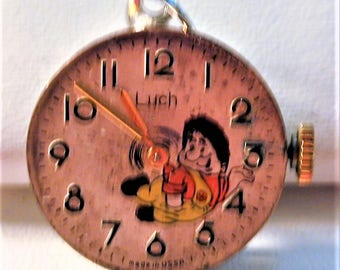 Steampunk Vintage 80's Russian Luch Watch Movement & Dial with Karlsson  Pendant with Chain OOAK #12