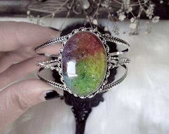 Fairy Bracelet, Silver Cuff, Solar Quartz Bracelet, Crystal Cuff, Elven Cuff Bracelet