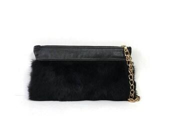 Black Fur Wristlet Clutch // More Colors
