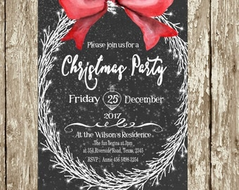 Christmas Party Invitations Digital Printable Elegant Download Rustic Chalkboard Company Christmas party invitations Invite Red White Wreath