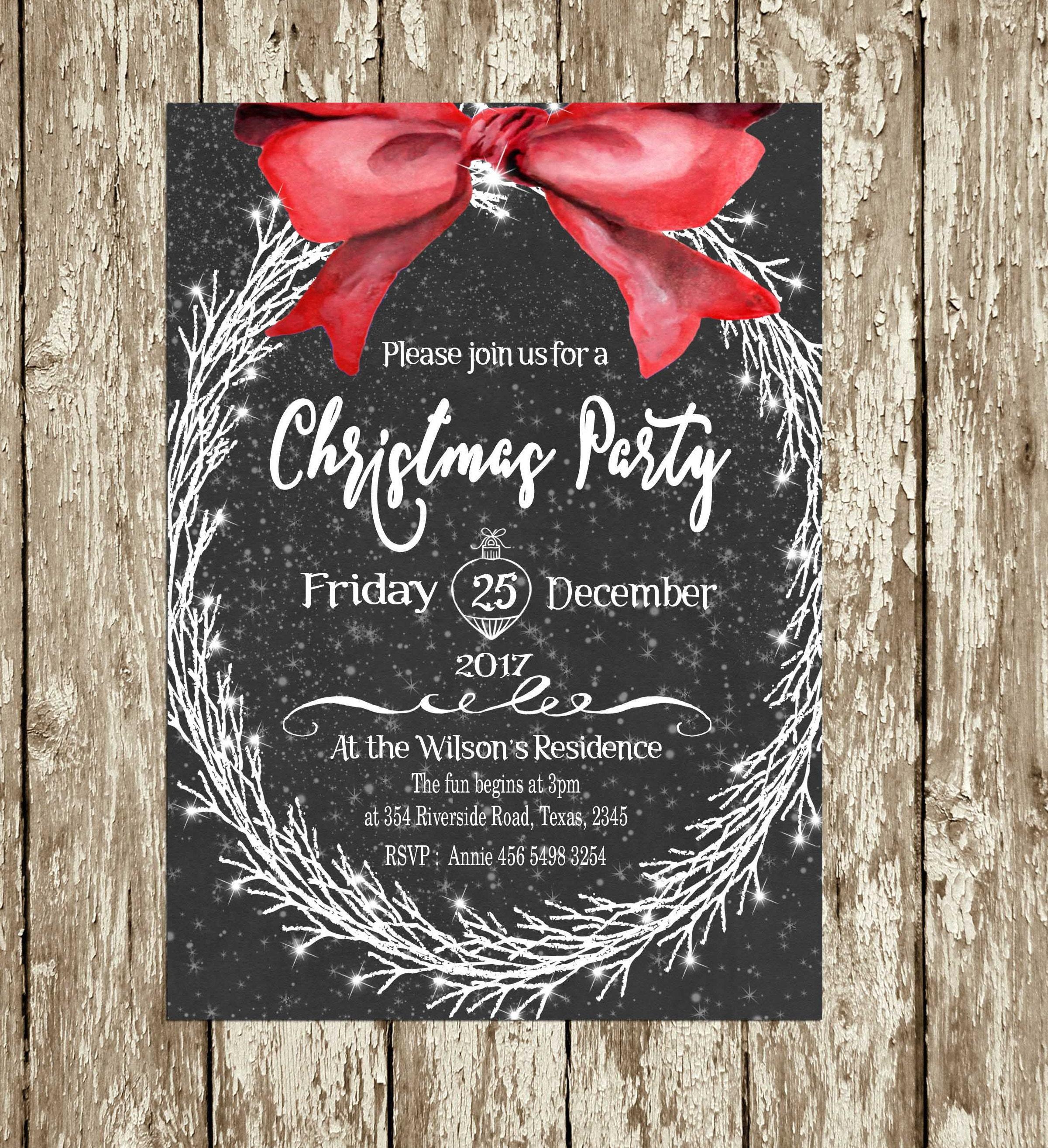 Christmas Party Invitations Digital Printable Elegant Download