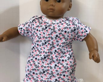 "15 inch Bitty Baby Clothes, Pretty ""Pink & Black FLOWERS"" Nightgown, 15 inch AG American Doll Bitty Baby, Fits 16 inch Cabbage Patch Doll"