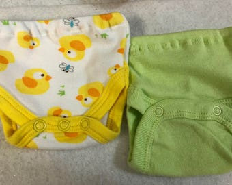 Baby Doll Diaper Covers, Panty, 15 inch AG Bitty Baby Clothes or Twin,Fits 16 inch Cabbage Patch Doll, SET of 2 for 3.00, Baby DUCKS & Green