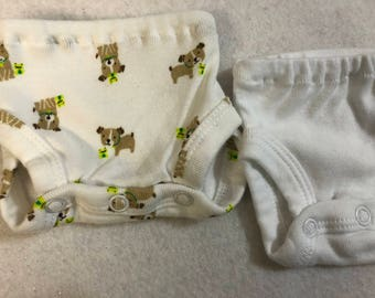 Baby Doll Diaper Covers, Panty, 15 inch AG Bitty Baby Clothes, Fits 16 inch Cabbage Patch Doll, SET of 2 for 3.00, Puppy DOG/Frog & White