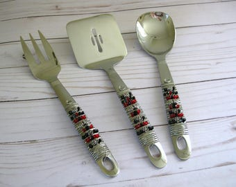 Swarovski Crystal Beaded Serving Utensils Set of 3, Beaded Silverware,  Serving Set, Serving Pieces, Wedding Gift