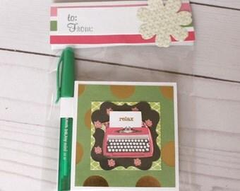 Relax Vintage Typewriter Post it Note Holder, Teacher Appreciation Gift, Valentine's Day gift
