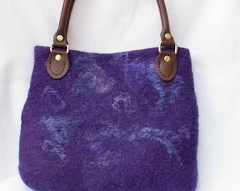 Purple handbag - felted bag- leather handles-wet felted purse-wedding birthday gift