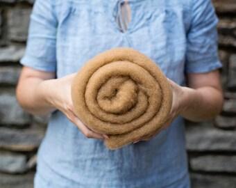Bluegrass Felting Batt - Caramel - camel brown tan - premium domestic wool batting - 2 oz.