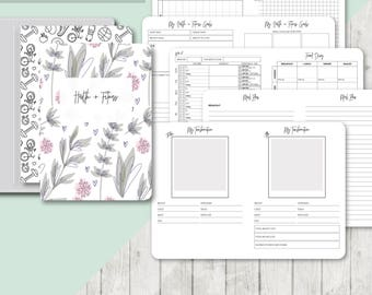 TN B6 Size: Health and Fitness Planner, Printable Travelers Notebook Insert, B6 Tn, Meal Planner, Weight Loss, Weight Tracker -ClassicSeries