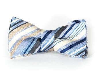 Bowtie - white silk with gray stripes - pre-tied - classy gentleman - groom - unique