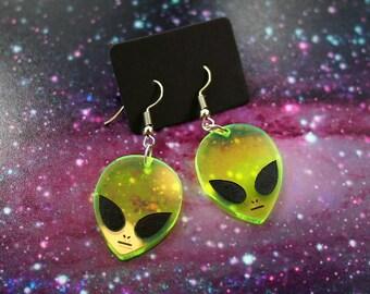 Transparent Alien Earrings, Dangle Earrings, Alien Jewelry, Womens Earrings, Gifts for Her, Neon Green Earrings, Pastel Goth Clothing