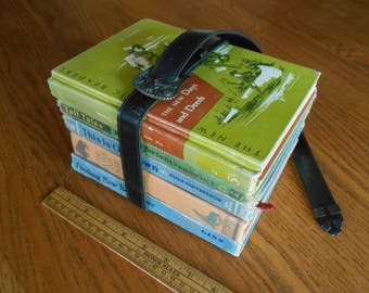 Strap of Books, Old School Text Books, Back to School Gift Teacher or Principal,