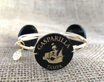 Gasparilla Tampa Festival Pirate ship Wire Wrapped Bangle Bracelet