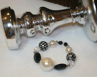 Pearls and Black Bead Bracelet