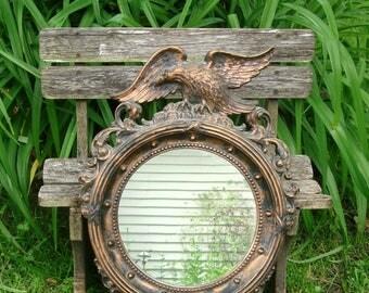 Vintage Dart 21x14 Federal American Eagle Porthole Nautical Wall Mirror #4007