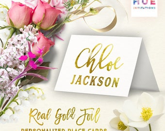 gold foil wedding place cards | REAL GOLD FOIL | party place cards gold foiled | personalized tent folded table number buffet place cards