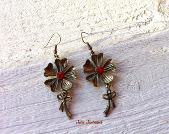 "Earrings ""Flower"" Bronze and Red"